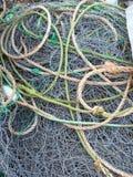 Filet de pêche, corde et flotteurs embrouillés Image libre de droits
