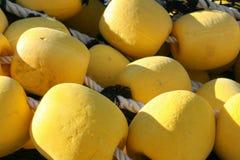 Filet de pêche industriel avec de grands flotteurs jaunes Photographie stock