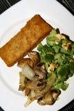 Filet de poissons avec des légumes, oignons, brocoli, champignons, fromage Photographie stock
