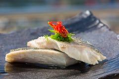 Filet de poissons organique cuit à la vapeur Photo libre de droits