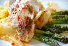 Filet de poulet avec l'asperge Image libre de droits