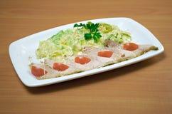 Filet de poulet avec la courgette cuite Photographie stock