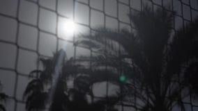 Filet de volleyball sur la plage près de la paume trois dans le mouvement lent banque de vidéos