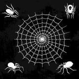 Filet fantasmagorique d'araignée de silhouette de Web de vecteur d'araignées de nature de Halloween d'élément de toile d'araignée illustration libre de droits