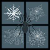Filet fantasmagorique de nature de silhouette de Web de vecteur d'araignées de Halloween d'élément de toile d'araignée de crainte illustration de vecteur