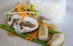 Filet grillé de bar avec de la sauce à teriyaki, service avec le courant Images stock