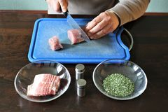 Filet with herbs in bacon coat - SERIES - Image 2 of 8 Stock Photography