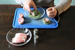 Filet with herbs in bacon coat - SERIES - Image 3 of 8 Stock Photos