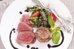 Filet Mignon. With asparagus salad Royalty Free Stock Images