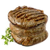 Filet Mignon. Chargrilled to perfection.   on white Royalty Free Stock Photos