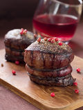 Filet mignon. With red pepper and wine sauce, selective focus Stock Photography