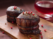 Filet mignon. With wine sauce, selective focus Stock Photos