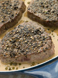 Filet Mignon au Poirve' in a saut pan Stock Photography