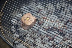 Filet mignon on barbecue grill Royalty Free Stock Image