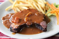 Filet mignon beef steak. On a plate stock images
