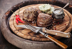 Filet mignon. Beef steak filet mignon and butter with herbs Royalty Free Stock Image