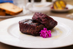 Filet mignon meal. Filet mignon served on a plate in restaurant Stock Photography