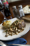 Filet Mignon with Sauteed Mushrooms Stock Photos