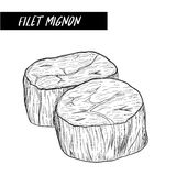 Filet mignon sketch by hand drawing Royalty Free Stock Image