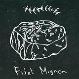 Filet Mignon Steak Cut Vector Isolated sur le contour de fond de tableau Photos stock