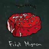 Filet Mignon Steak Cut Vector Isolated sur le fond de tableau Images libres de droits