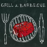 Filet Mignon Steak on the Grill for BBQ, Tongs and Fork. Lettering Grill and Barbecue. Realistic Doodle Cartoon Style royalty free illustration