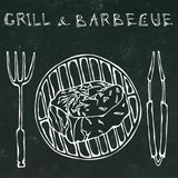 Filet Mignon Steak on the Grill for BBQ, Tongs and Fork. Lettering Grill and Barbecue. Realistic Doodle Cartoon Style Royalty Free Stock Photos