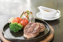 Filet Mignon Steak. Pepper steak royalty free stock image