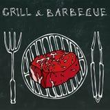 Filet Mignon Steak sur le gril pour le BBQ, les pinces et la fourchette Gril et barbecue de lettrage Style réaliste de bande dess illustration libre de droits