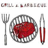Filet Mignon Steak sur le gril pour le BBQ, les pinces et la fourchette Gril et barbecue de lettrage Style réaliste S tiré par la illustration stock
