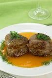 Filet mignon with sweet sauce Stock Photos