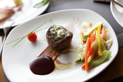 Filet mignon with vegetables Royalty Free Stock Photos