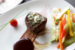 Filet mignon with vegetables and sauce Royalty Free Stock Photo