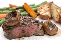 Filet minon with potatos and mushrooms Stock Images