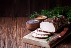 Filet rôti de porc en marinade de moutarde image libre de droits