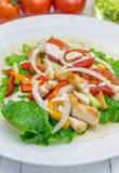 Filet rôti de poulet sur la tortilla de blé avec de la salade des légumes frais image stock