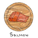 Filet of Raw Salmon Fish on Round Cutting Board. Fish Cut Slice For Cooking, Holiday Meals, Recipes, Seafood Guide, Menu. Hand Dra. Wn Illustration. Savoyar Stock Image
