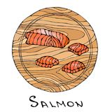 Filet of Raw Salmon Fish on Round Cutting Board. Fish Cut Slice For Cooking, Holiday Meals, Recipes, Seafood Guide, Menu. Hand Dra. Wn Illustration. Savoyar Royalty Free Stock Images