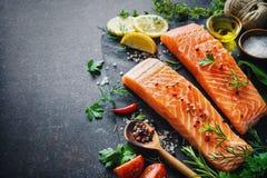 Filet saumoné frais avec les herbes, les épices et les légumes aromatiques images libres de droits