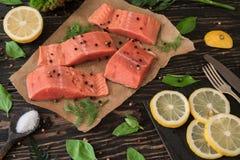 Filet saumoné sur le papier parcheminé Photo stock