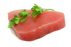 Filet of tuna. And parsley isolated royalty free stock images
