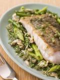 Filet van Stokvissen met de Groene Groenten van Kokkels Stock Afbeeldingen