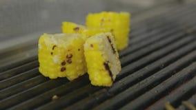 Filete asado a la parrilla con maíz almacen de metraje de vídeo