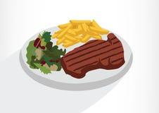 Filete con la ensalada y las patatas fritas en una placa Ejemplo del vector en un fondo blanco Imagenes de archivo