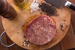 Filete crudo de Wagyu de la carne de vaca Foto de archivo libre de regalías