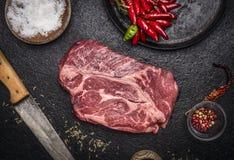 Filete crudo fresco con el cuchillo de talla de la cacerola de la sal de la pimienta roja en un cierre rústico oscuro de la opini Fotografía de archivo
