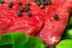 Filete de carne de vaca con pimienta Imágenes de archivo libres de regalías