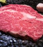 Filete de carne de vaca de Wagyu en la placa Fotografía de archivo