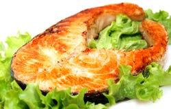 Filete de color salmón asado a la parilla suculento Fotos de archivo