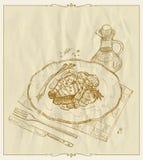 Filete de color salmón asado a la parrilla en un ejemplo dibujado mano de la placa Fotografía de archivo libre de regalías